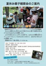 【イベント案内】夏休み親子観察会 −水辺の生きものを観察しよう!−
